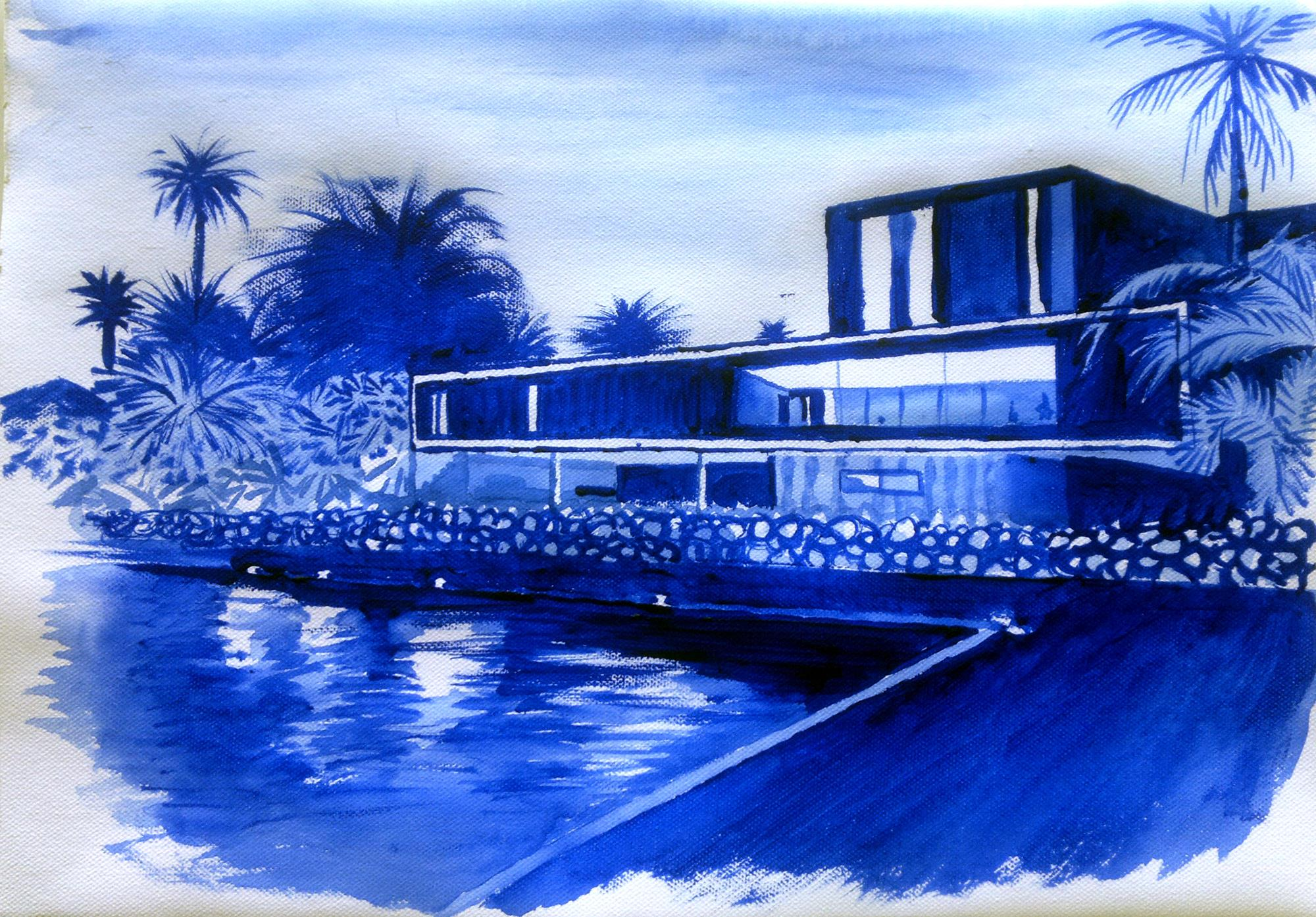 Casa de la playa en acrilico azul ultramar