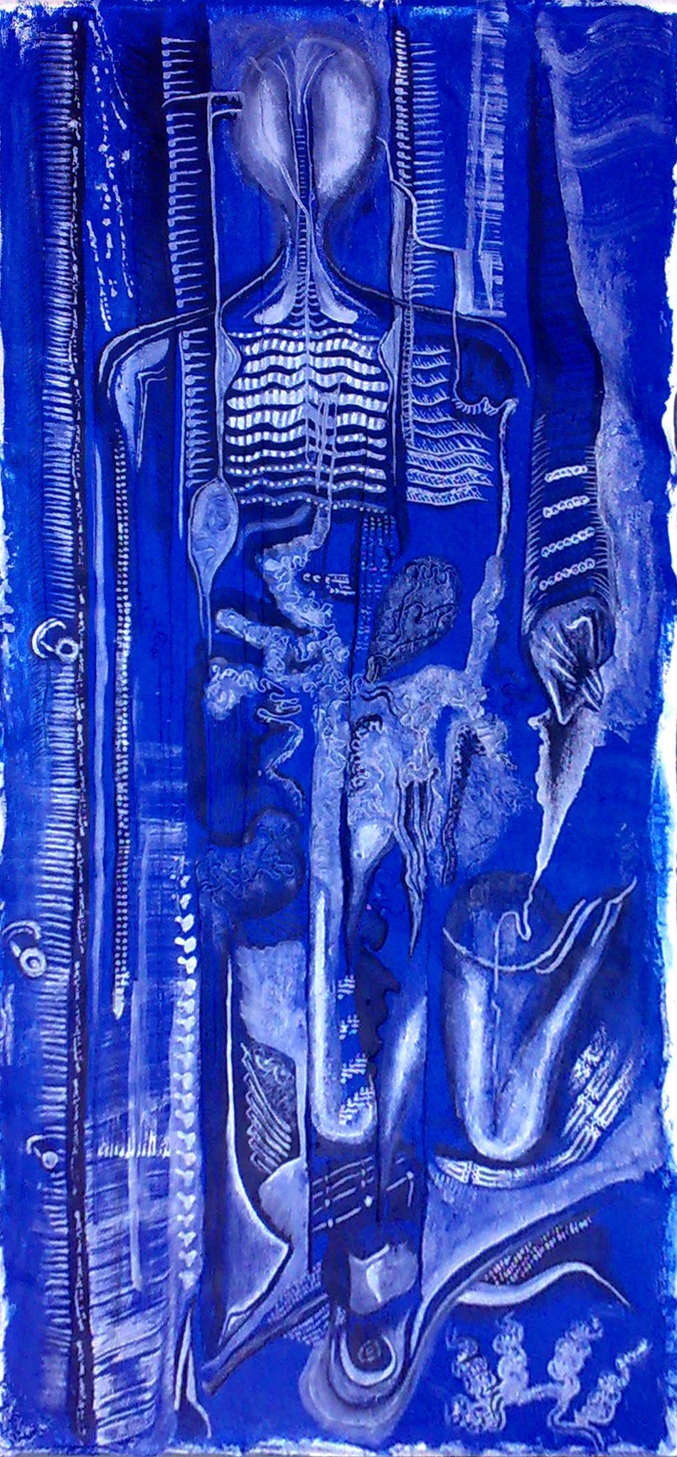 Azul ultramar acrilico homenaje a H.R.Giger, creador de Alien