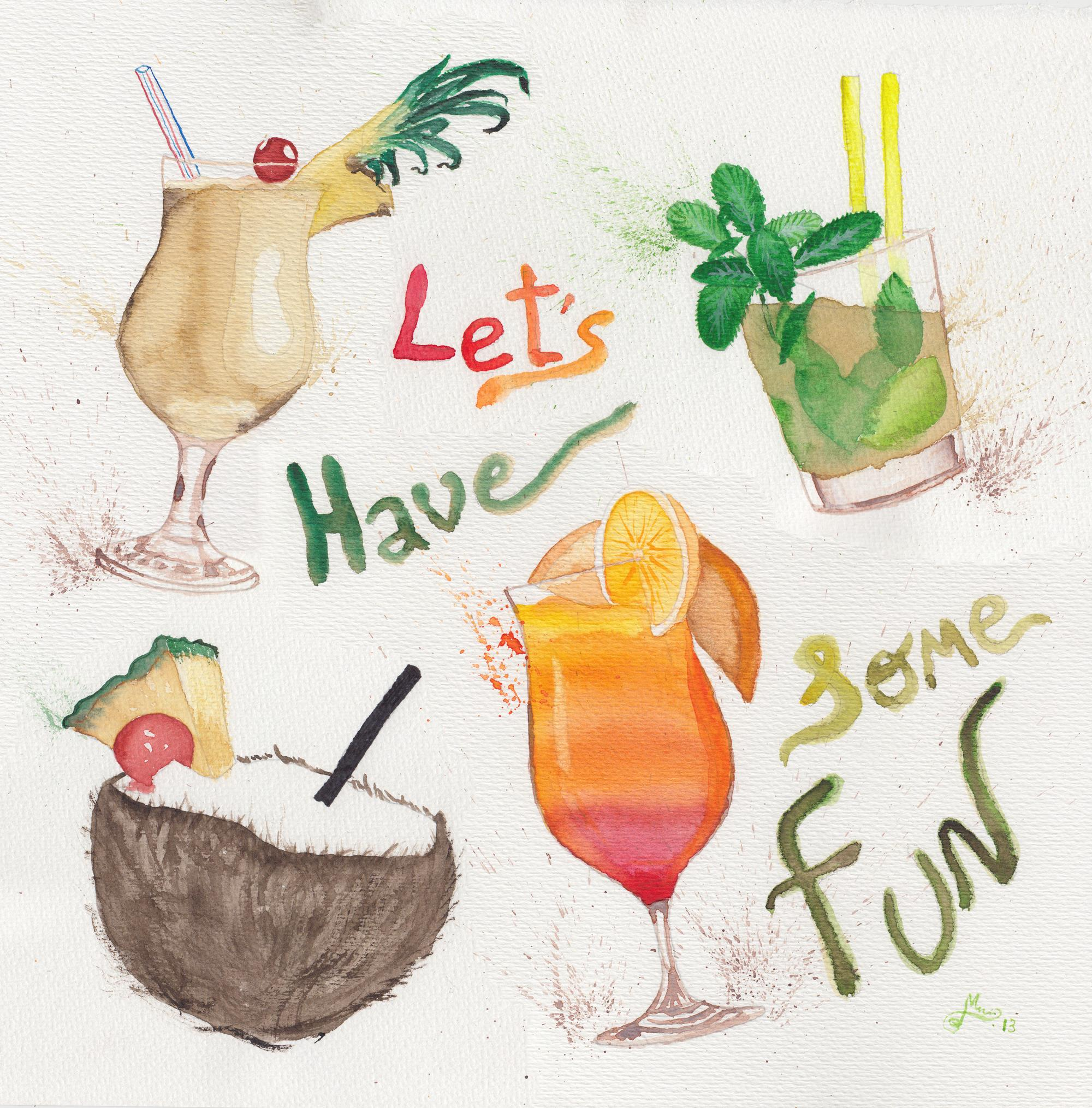 acuarela-pina-colada-sunrise-tropical-cocktails