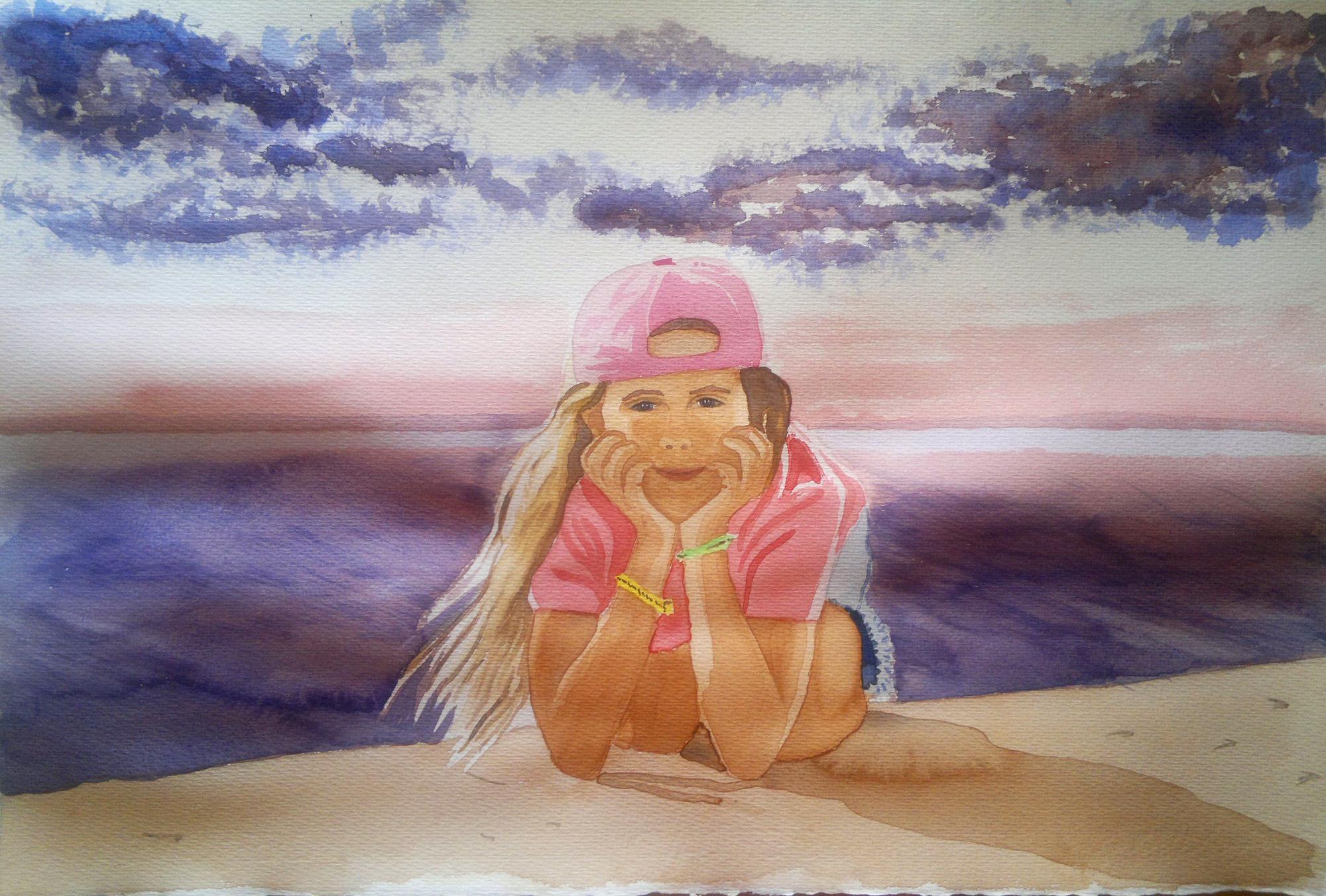 acuarela-retrato-niña-playa