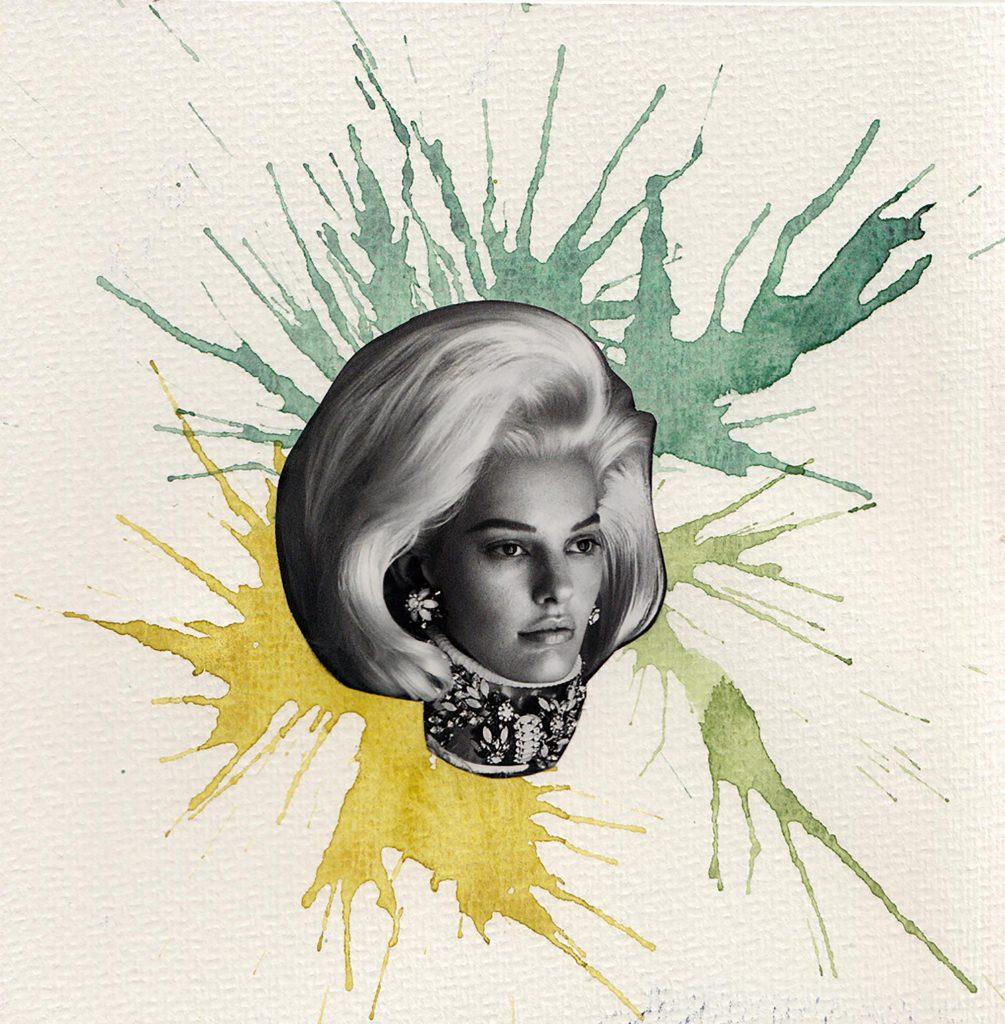 acuarela soplada amarillo y verde con la cabeza de una modelo del vogue en blanco y negro