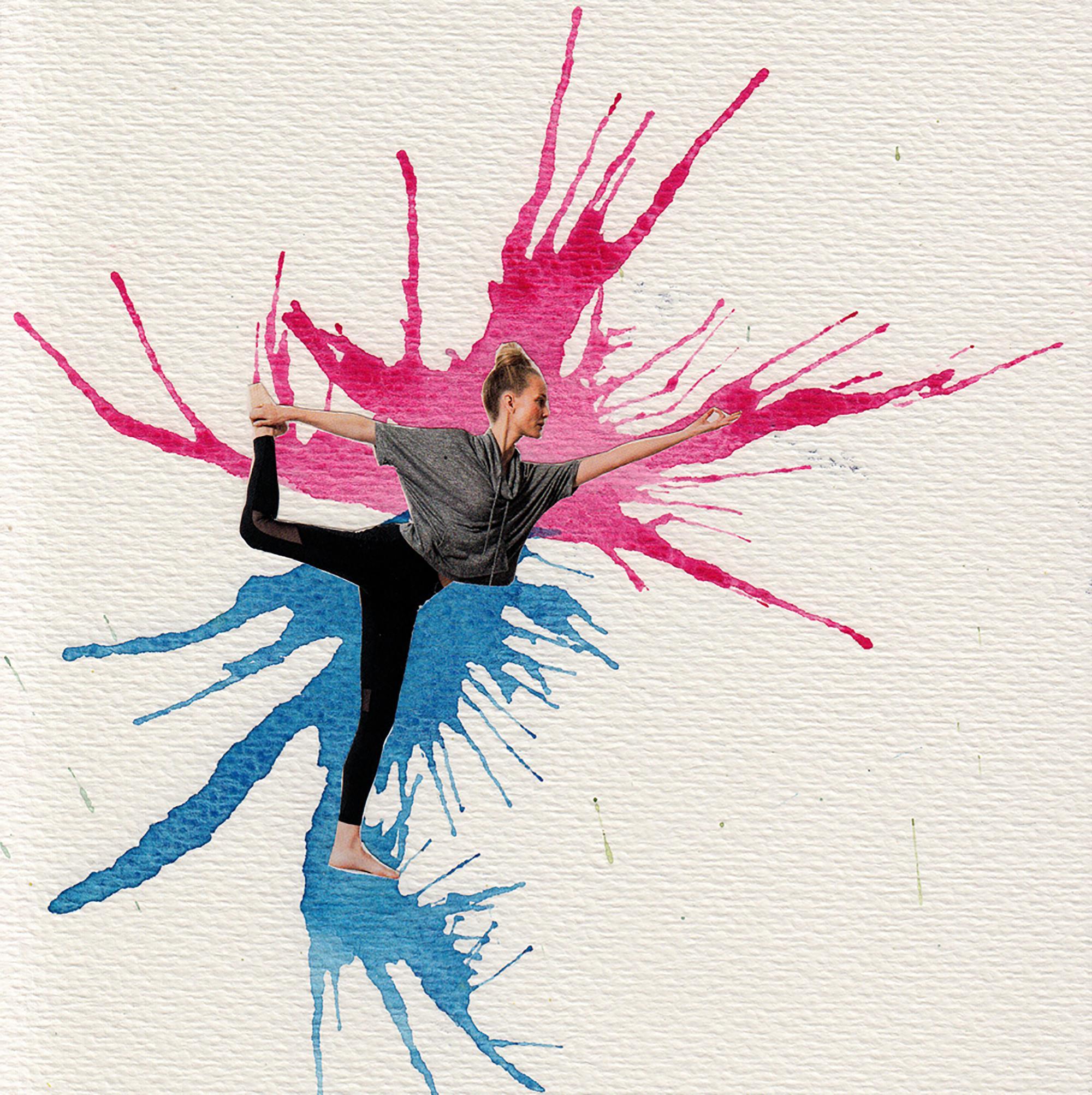acuarela soplada fucsia y azul y collage de una mujer haciendo yoga