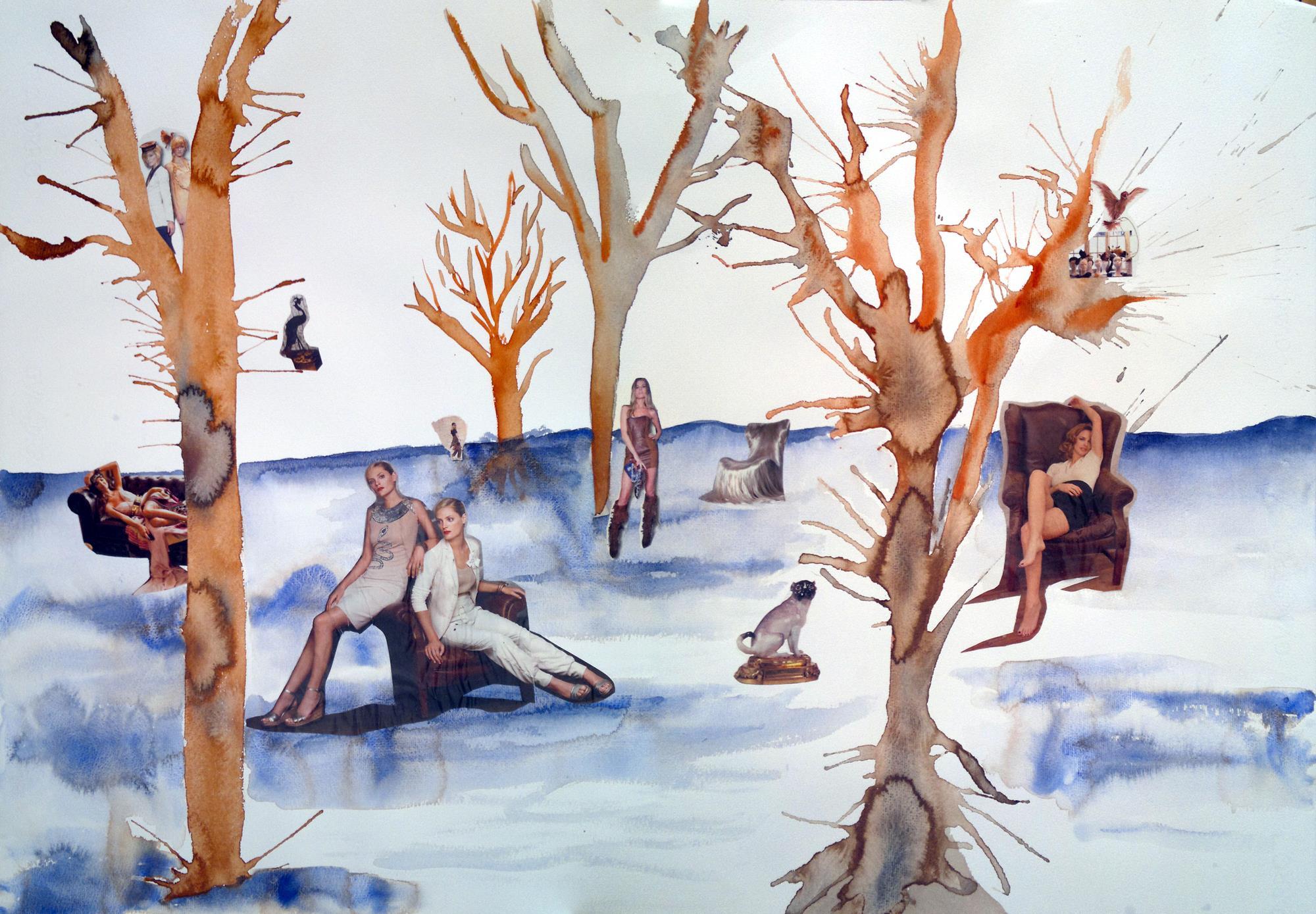 collage de acuarela soplada, paisaje de invierno y mujeres del vogue de invierno con ropa que no abriga