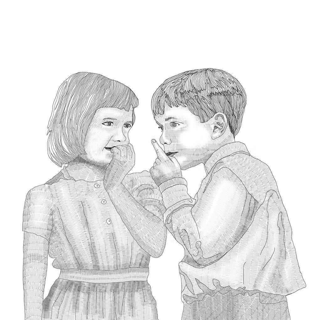 ilustracion estilo grabado antiguo de dos niños compartiendo un secreto para un cuento