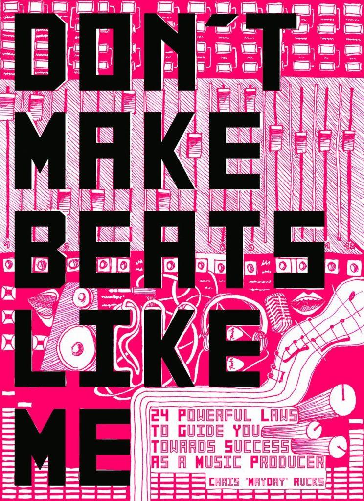 ilustracion para la cubierta de un libro guia para productores musicales. Representa una mesa de mezclas fucsia.