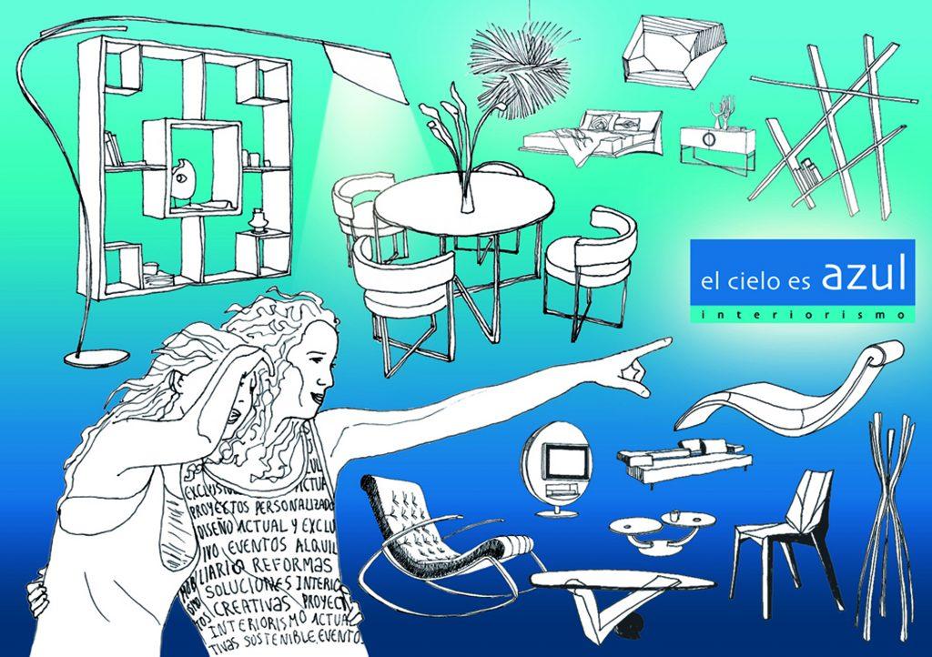 Cartel para la tienda showroom de muebles de lujo El cielo es azul