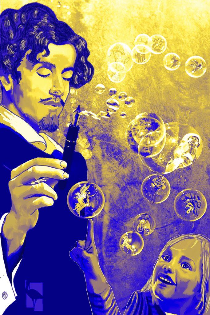 Becquer sopla a través de una pluma y de ella salen burbujas que contienen relatos de todo genero. El lector hace explotar las burbujas al leer. ilustracion para animar a los niños a leer.