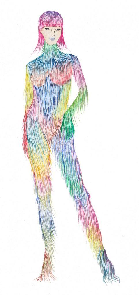 Boceto de Nueva Diosa, proyecto artistico de Barbarella Blow. Una mujer modificada genéticamente cuya piel peluda de colores adorna y abriga.