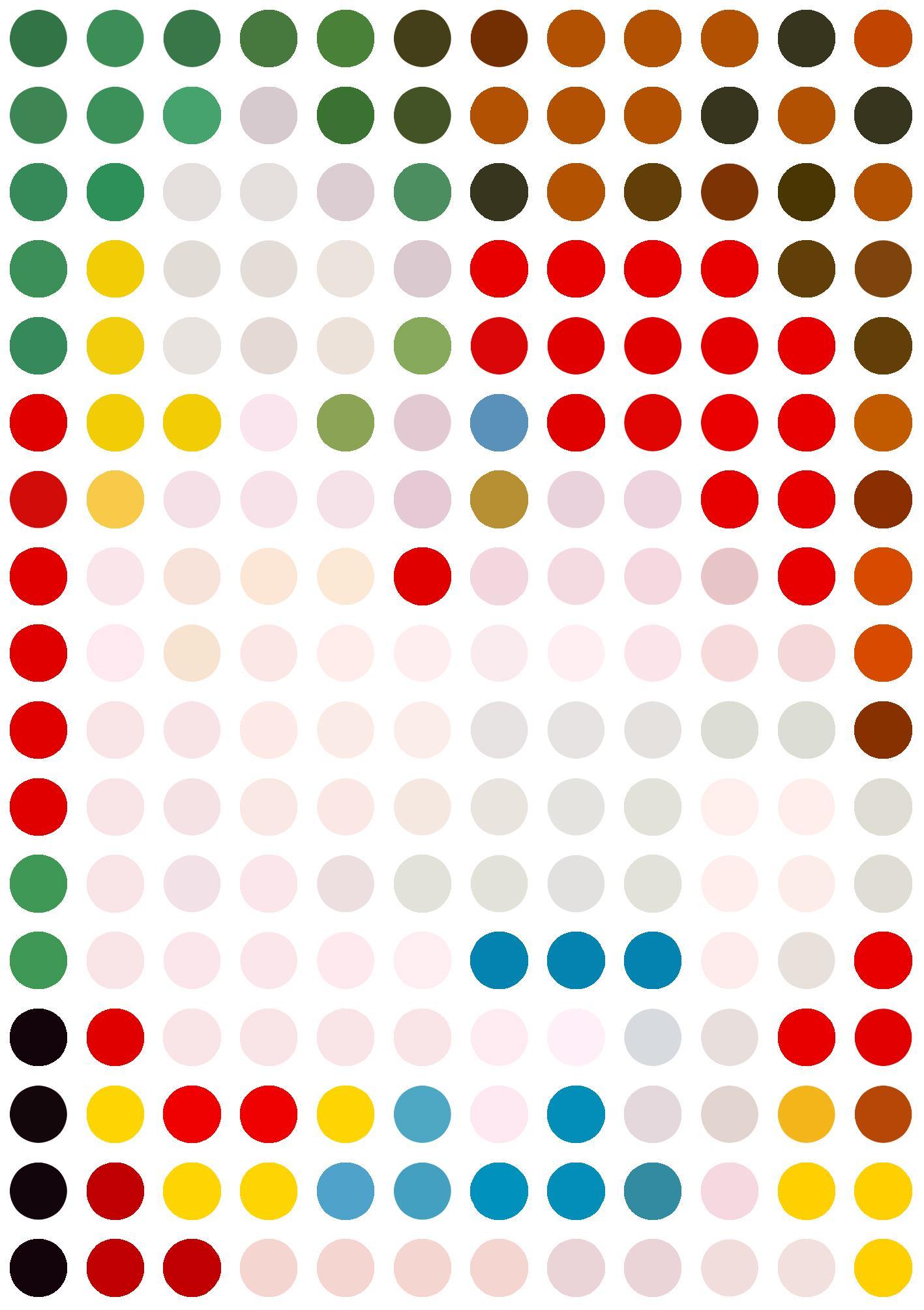 La siesta de Picasso reducida a una abstracción de lunares de colores. Una adivinanza para los amantes del arte.