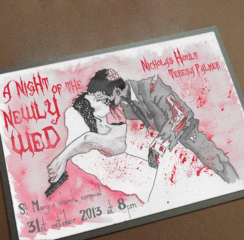 Invitación para una boda de temática zombi, la novia estaba a punto de matar al zombi que se ha enamorado de ella y le da un beso, desarmándola. La noche de los recién casados.