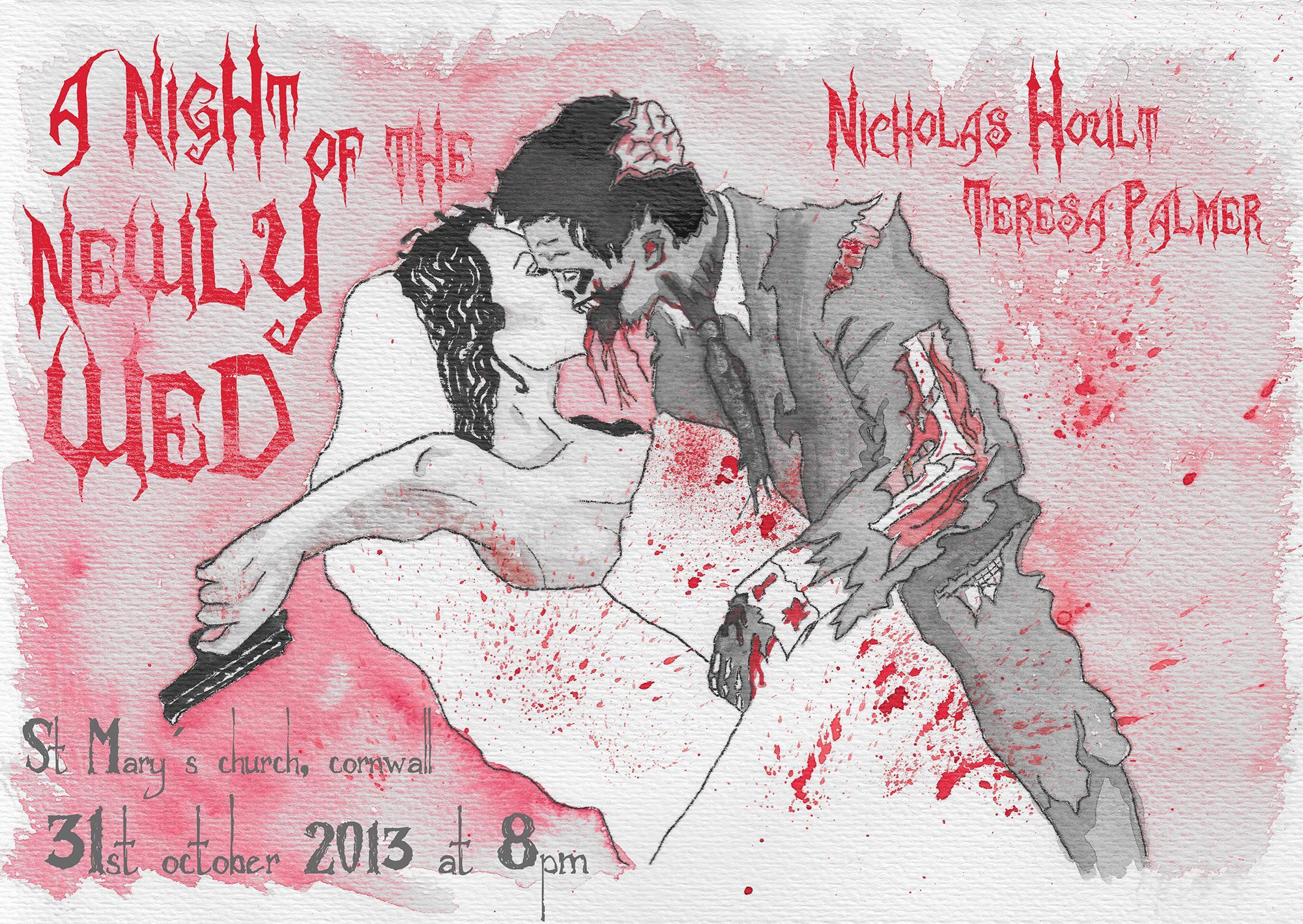 boda zombi, sangre salpicada, puede besar a la novia señor descerebrado. Eres asqueroso pero te quiero, dice ella.