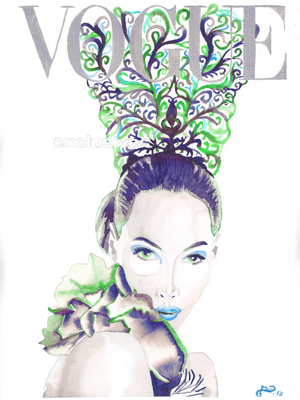 scan-vogue-cristy-turlington-peineta-verde-acuarela