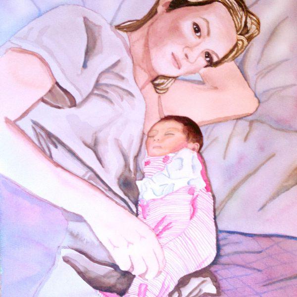 retrato-acuarela-familia-maternidad-bebe-recien-nacido